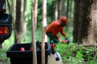 Mörtelwanne als Transportbehälter für die Arbeit im Holz